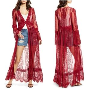NWT Band Of Gypsies Lace Bell Sleeve Duster
